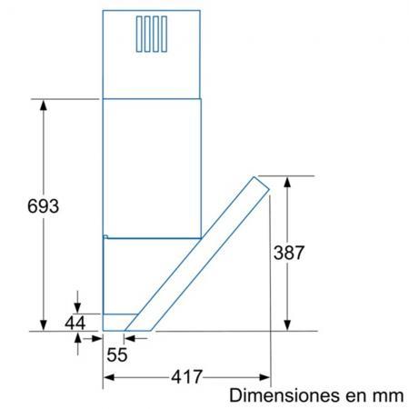 Balay 3bc8690xm campana extractora inclinada 90cm for Medidas de lavavajillas