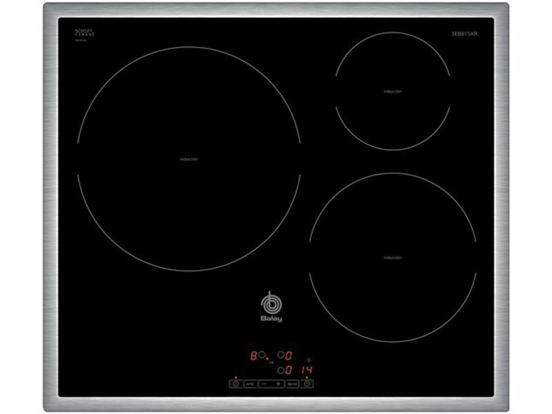 Balay 3EB815XR. Placa inducción 3 fuegos marco Acero - Oselection.es